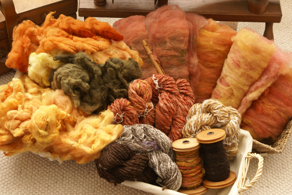 Yarn and fibres dyed using natural dyes and plant extracts by Debbie Tomkies
