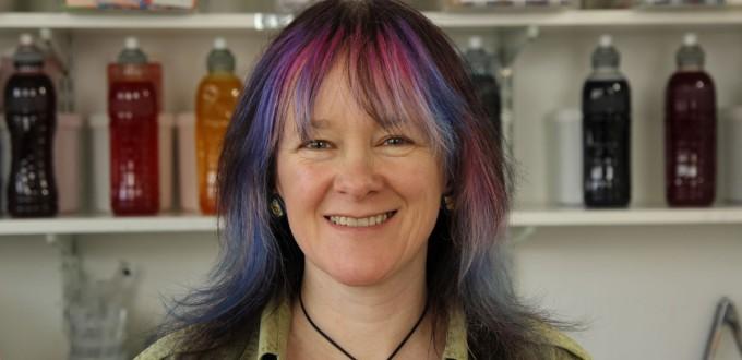 Blog image of Debbie Tomkies, owner of DT Craft & Design and Making Futures,  in her dye studio