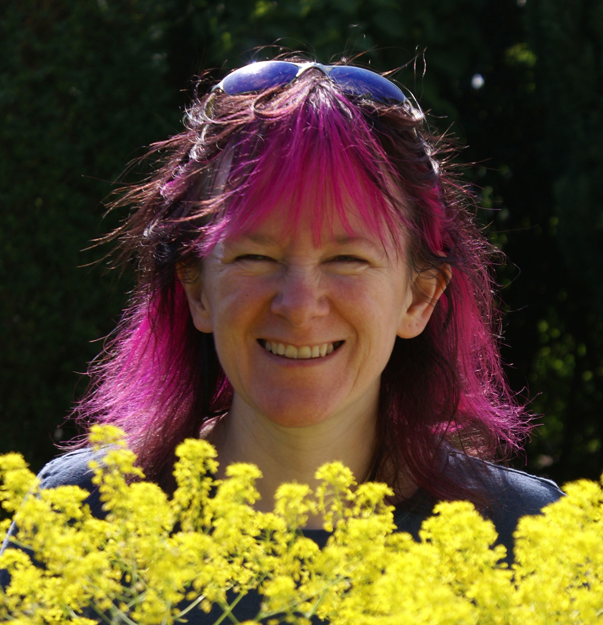 Debbie Tomkies with her homegrown woad plants