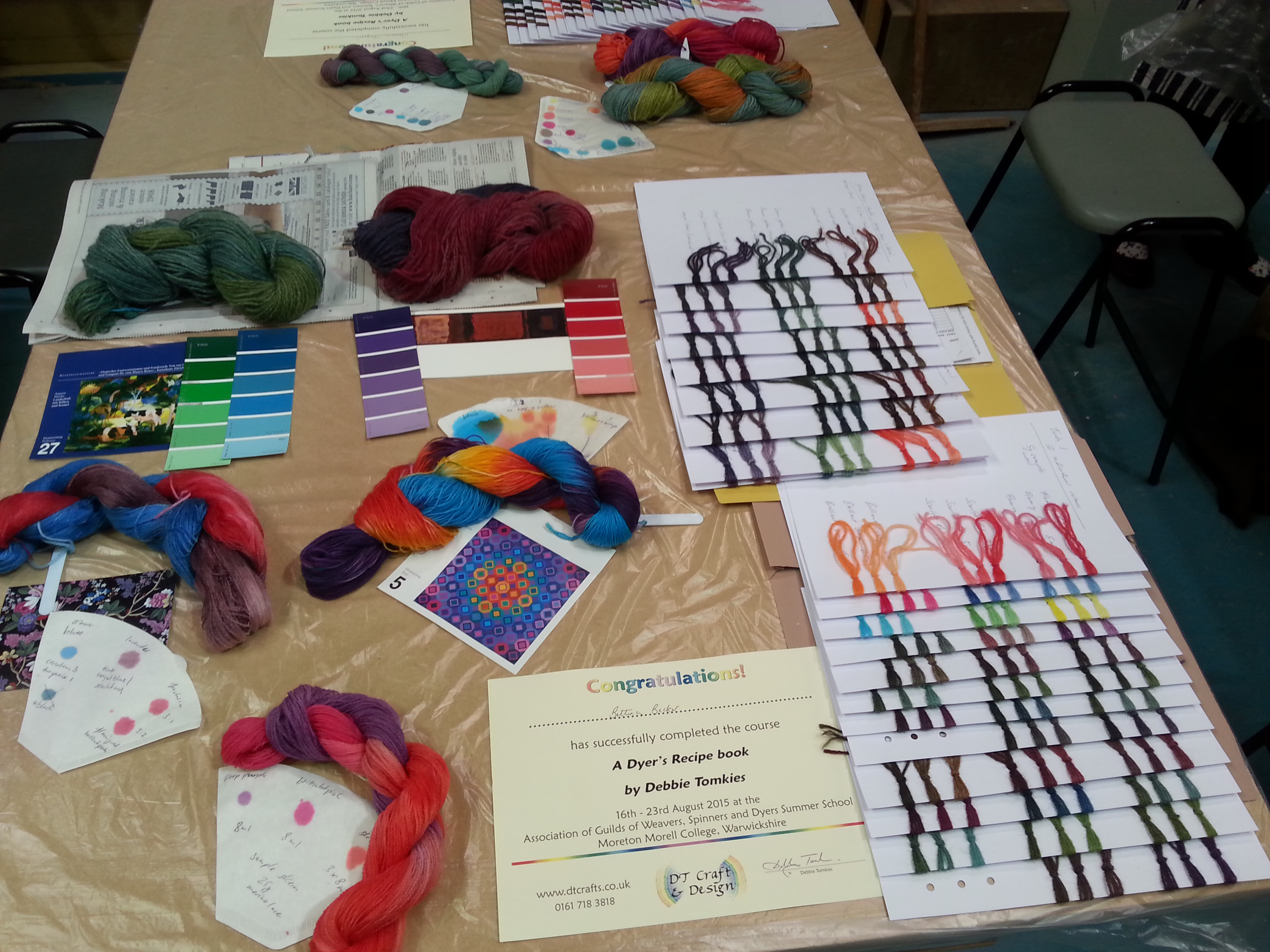 Online Dyeing & Textiles Courses - samples from debbie tomkies dyers recipe book workshop course