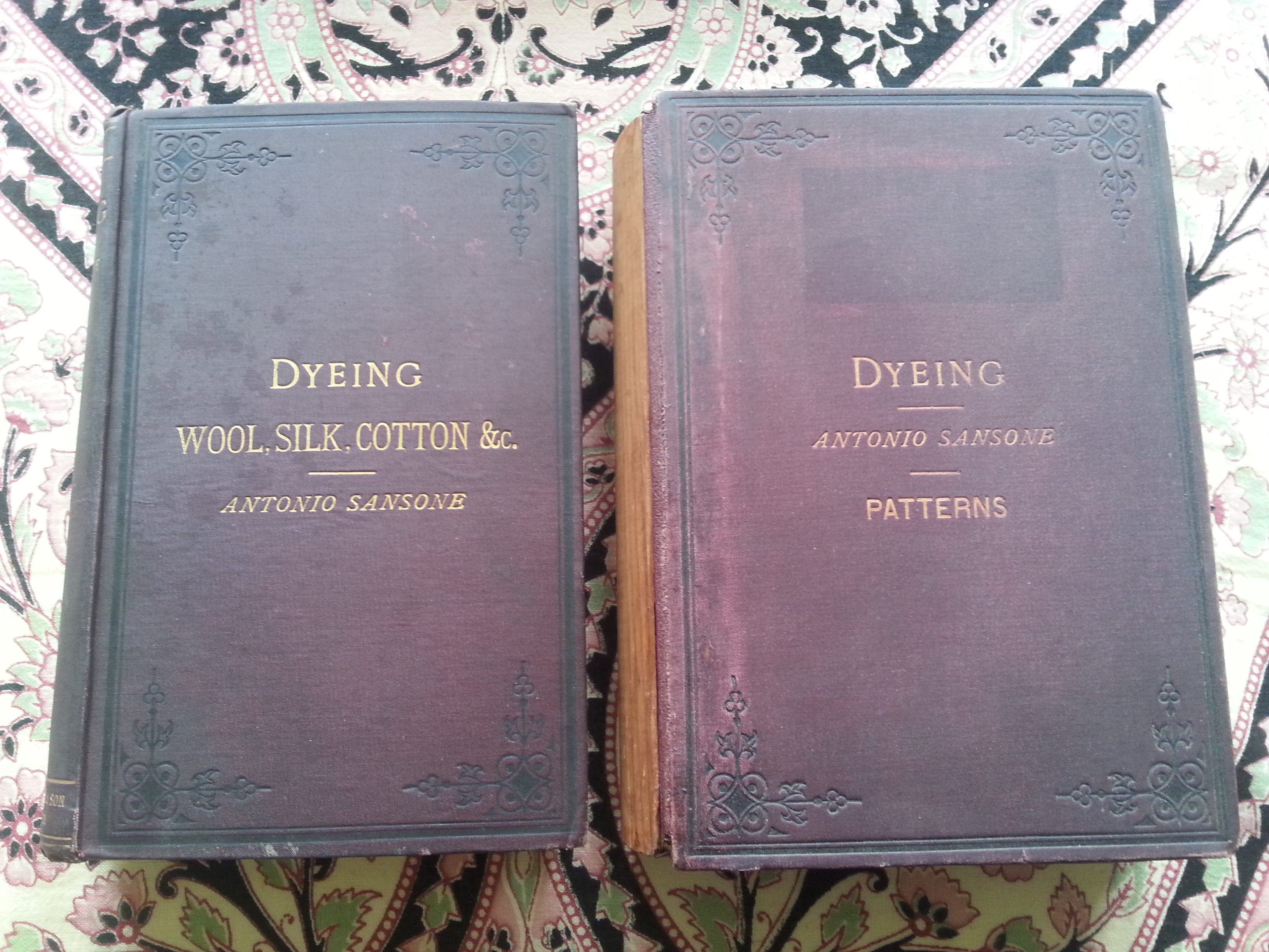 Dye history books - Image of volumes 1 and 2 Antonio Sansonne Dyeing 1888