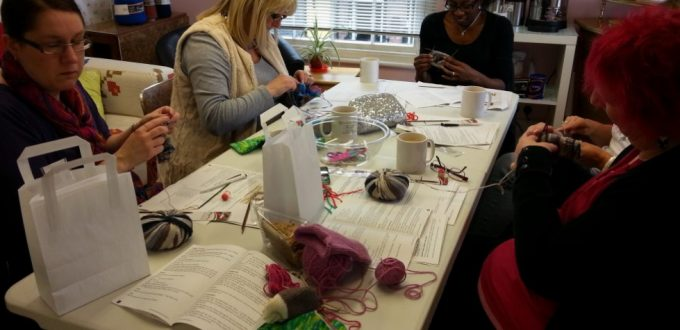 Debbie Tomkies of DT Craft and Design teaching a knitting workshop