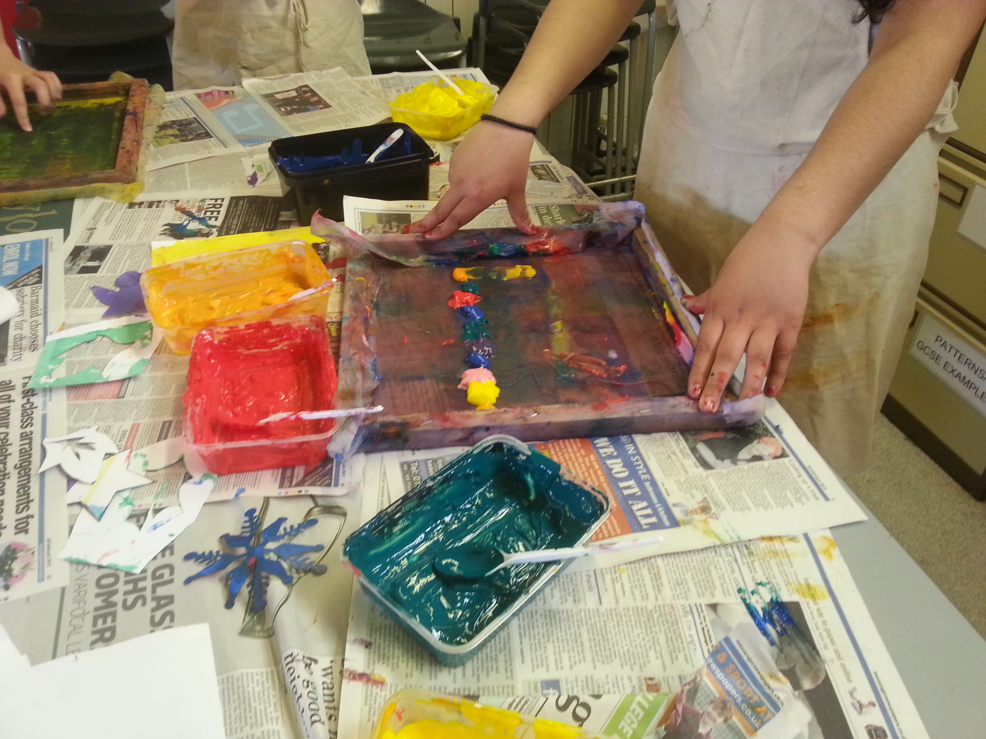 screenprinting with gcse d and t students