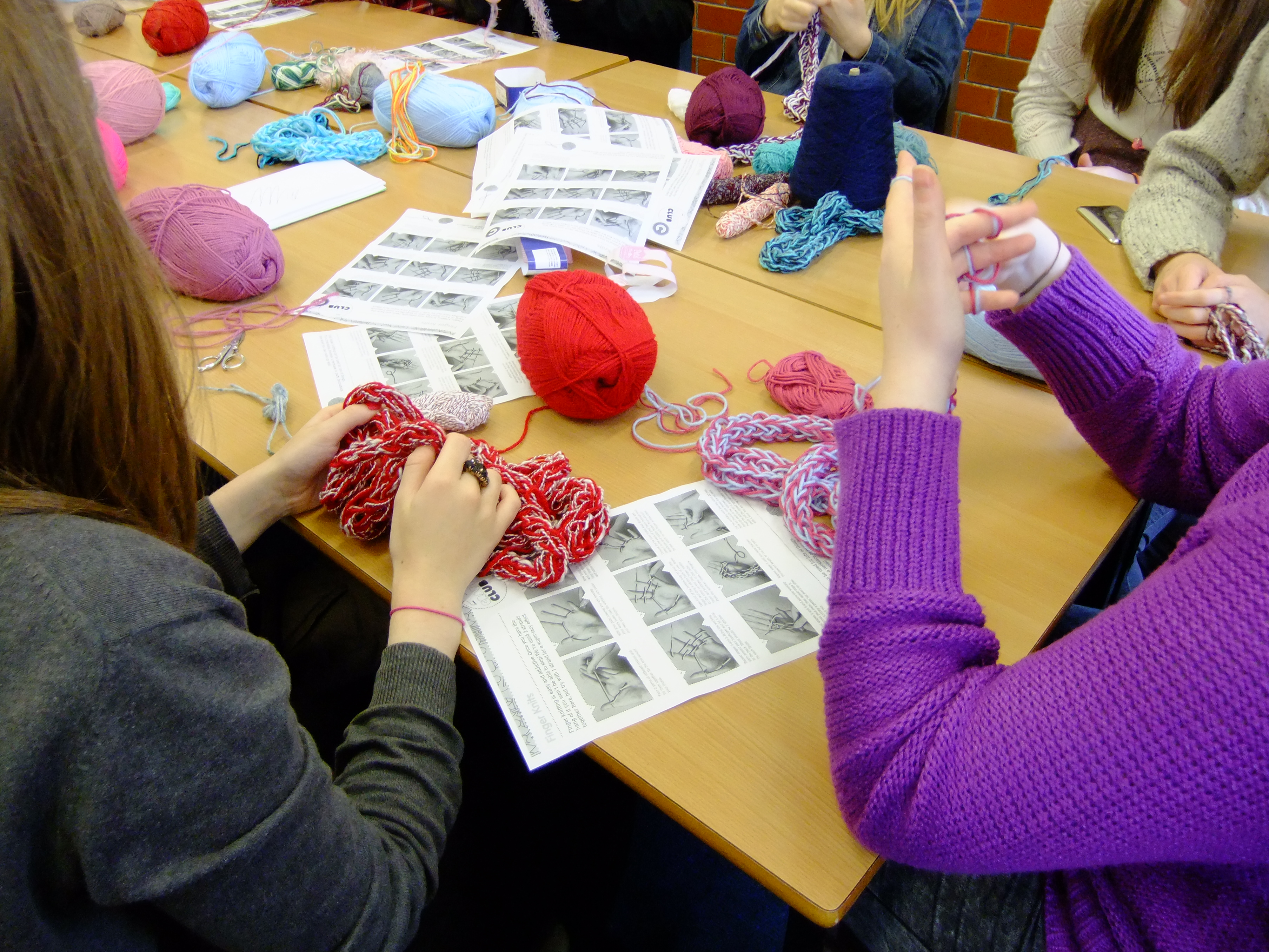 finger knitting sessions as part of a schools enrichment programme