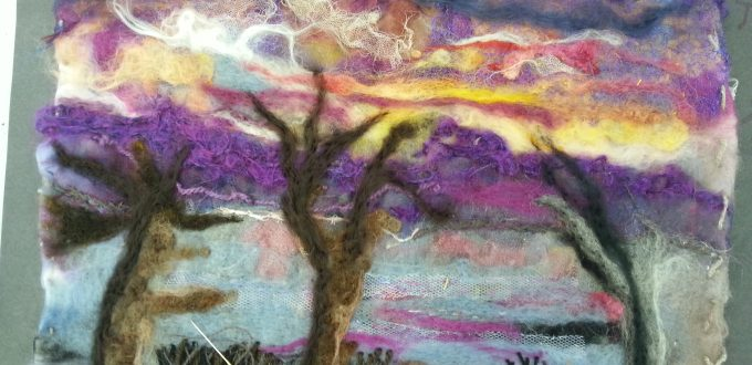 Felted landscape by a member of the Friday Textiles Group at Open Studios Altrincham with Debbie Tomkies of DT Craft & Design