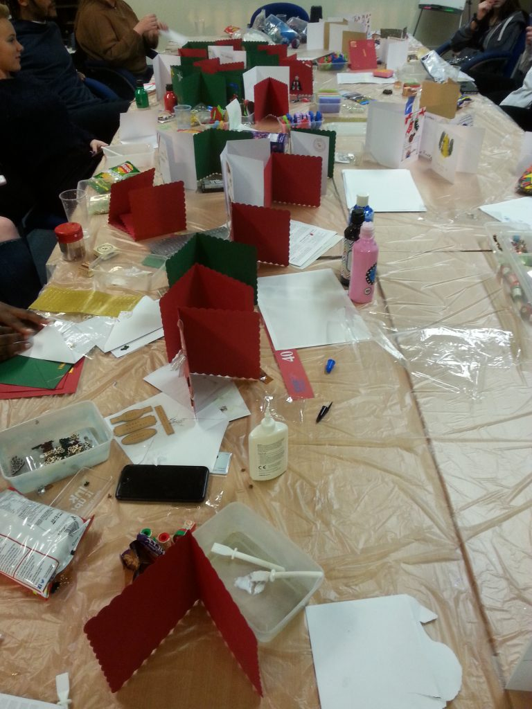 Salford Young Carers make gifts for the 42nd street pop-up shop project with Debbie Tomkies of Making Futures