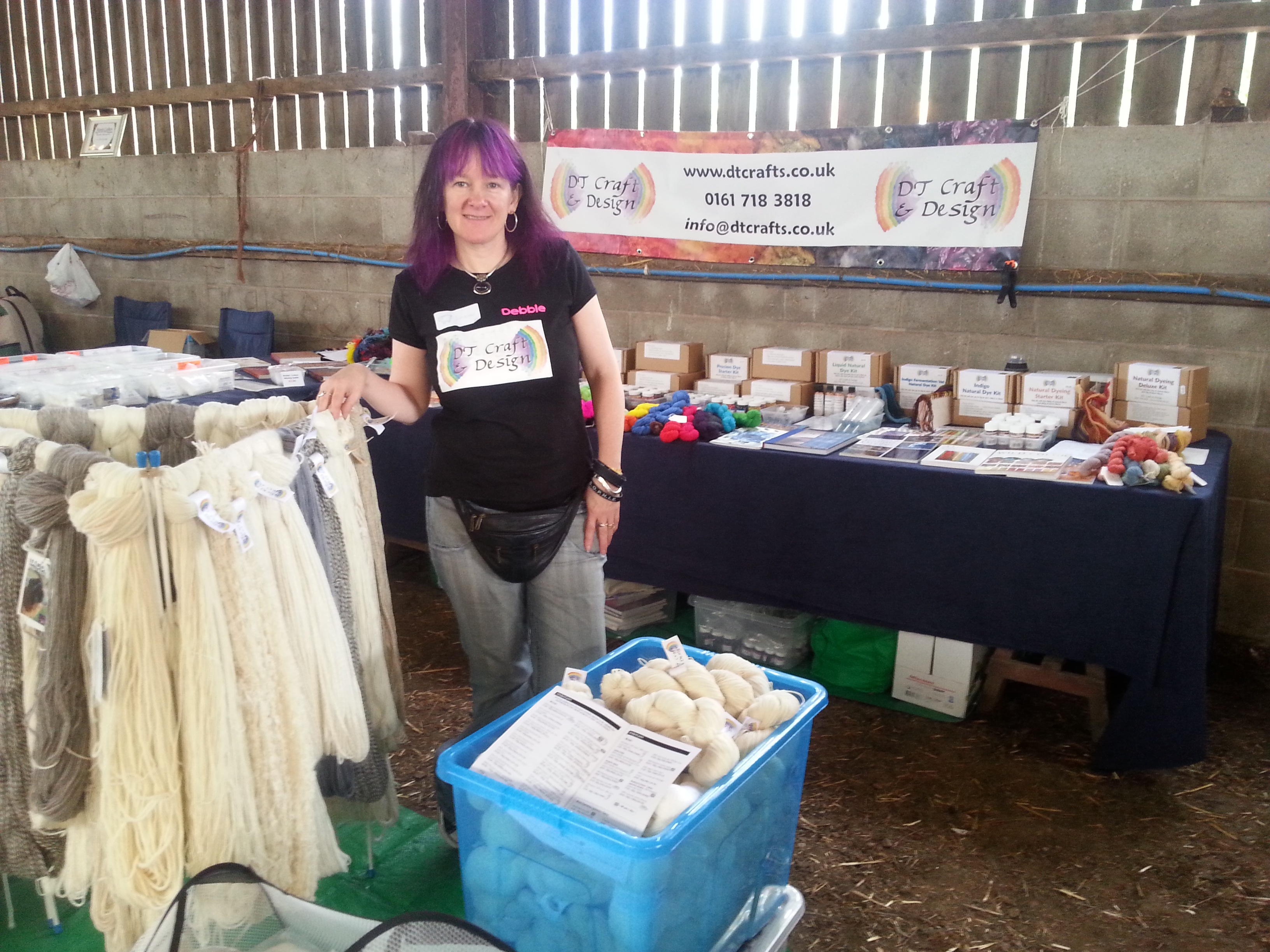 debbie tomkies at the dt craft and design stall at the wool experience blaze farm wildboar clough