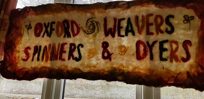 DT Craft and Design visit to Oxford Guild of Weavers, Spinners & Dyers - Guild banner