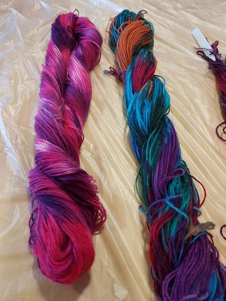 Hand dyed yarns from Debbie Tomkies' advanced dyeing workshop at Black Sheep Wools