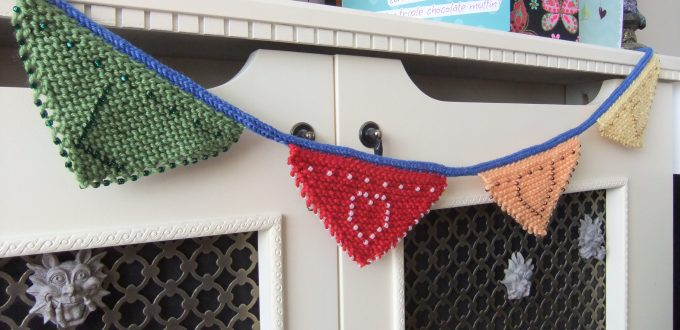 Knitted bunting from the beginners learn to knit course