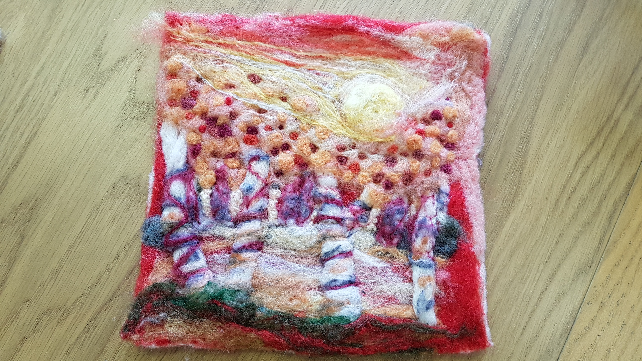 felting project completed by one of the students at the altrincham open studios friday textiles group