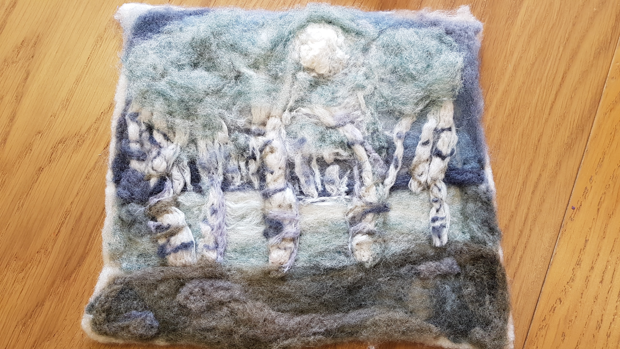 Hand-felted landscape made by a student from Debbie Tomkes' Friday Textiles Group