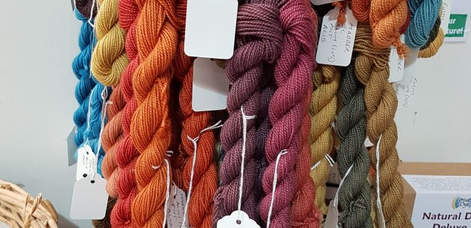 Naturally dyed sample skeins by Debbie Tomkies of DT Craft & Design
