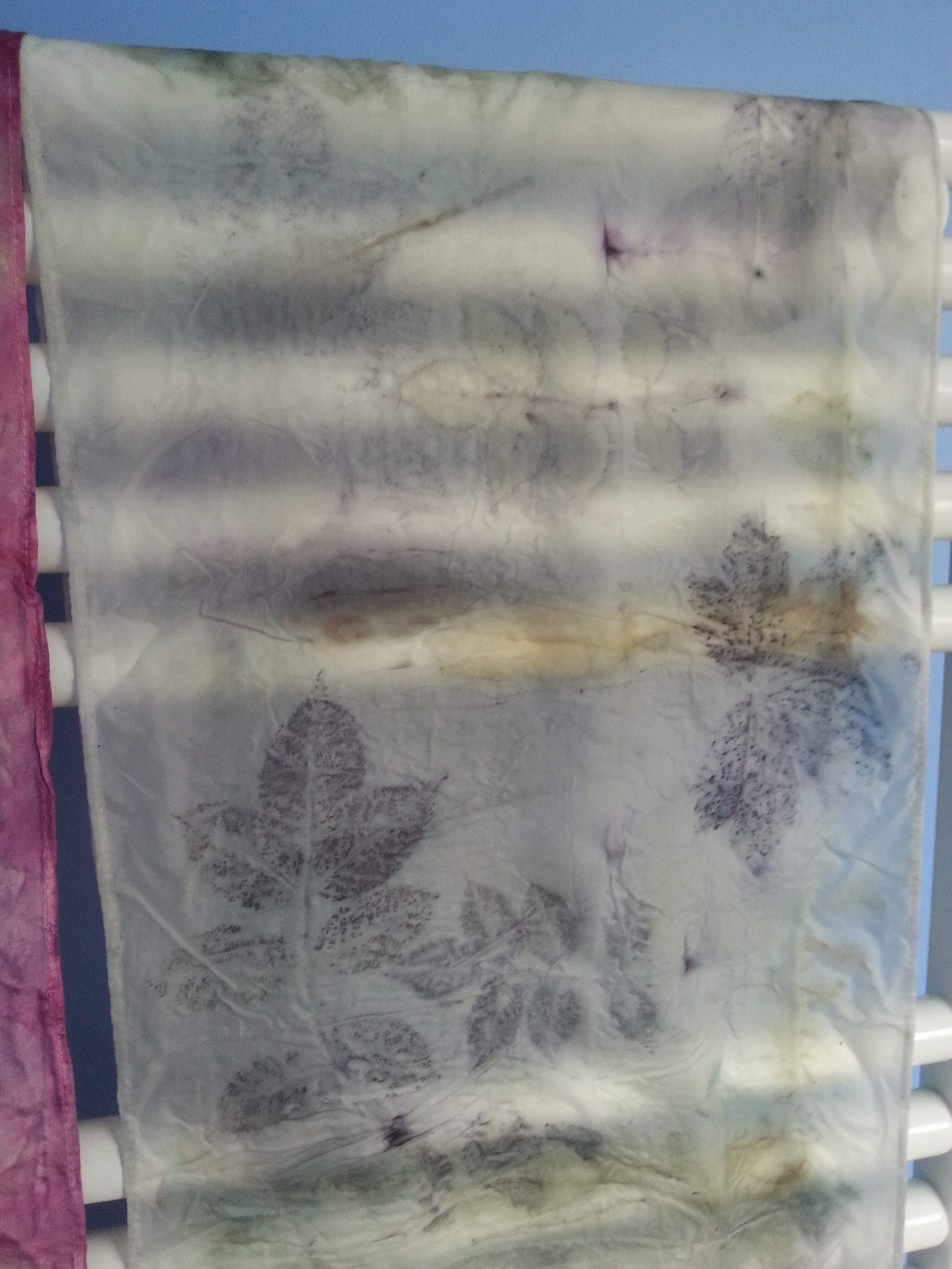 Eco-printed scarf by Debbie Tomkies of DT Craft and Design using our Just Add Leaves eco-printing kit